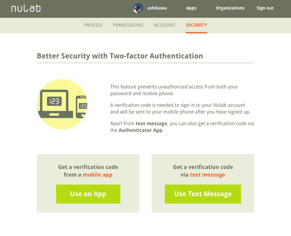 two-factor authentication setting