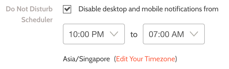 "Check the ""Disable desktop and mobile notifications from"" box, and click the ""update"" button to save your changes."