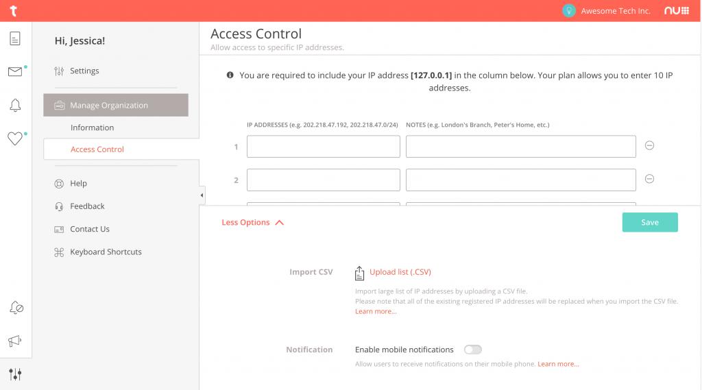 Bulk upload Access Control - Typetalk