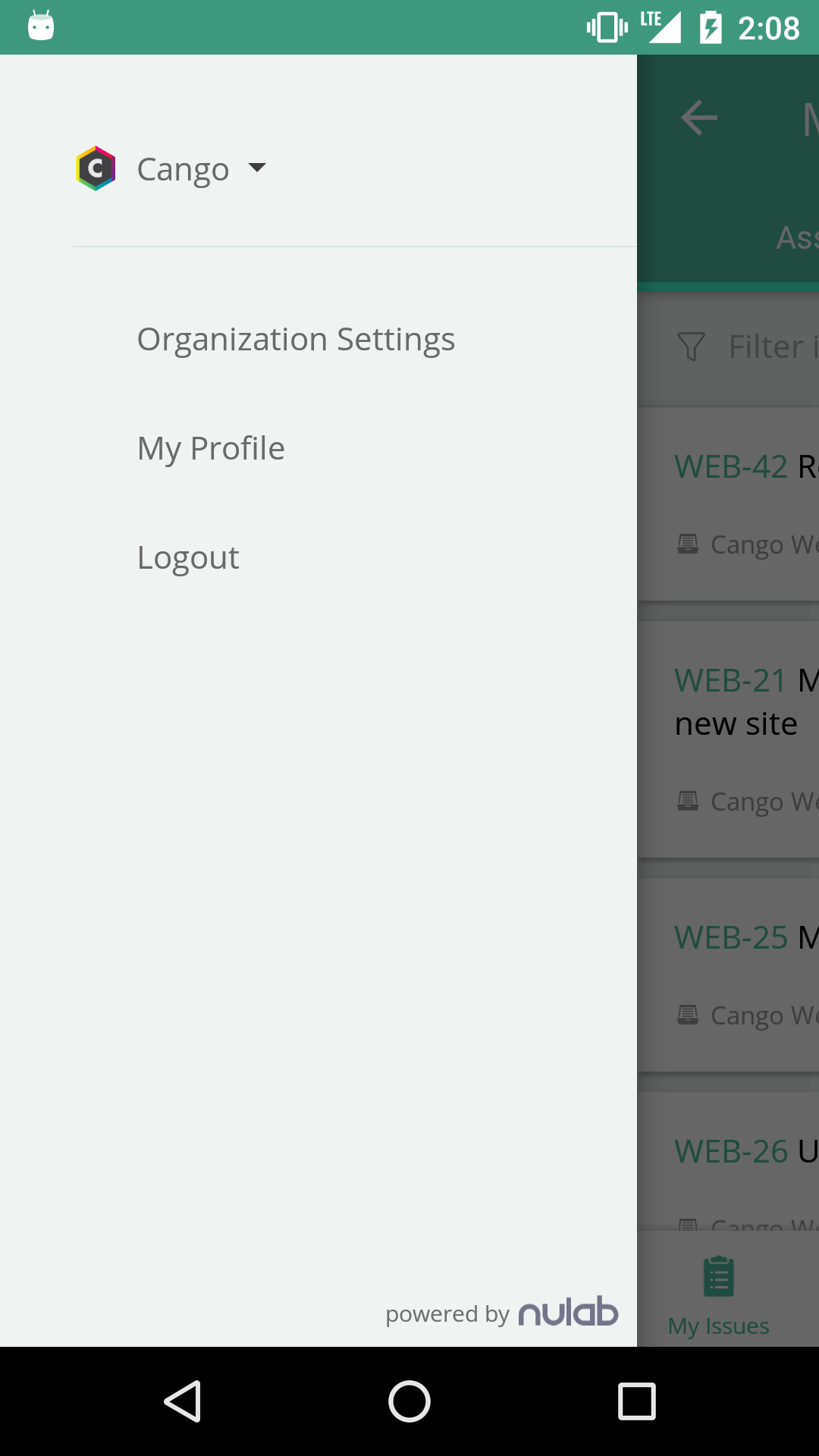 navigation drawer on Backlog for Android