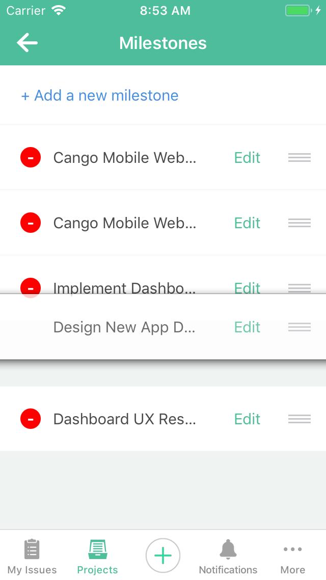 Reordering milestones on Backlog for iOS