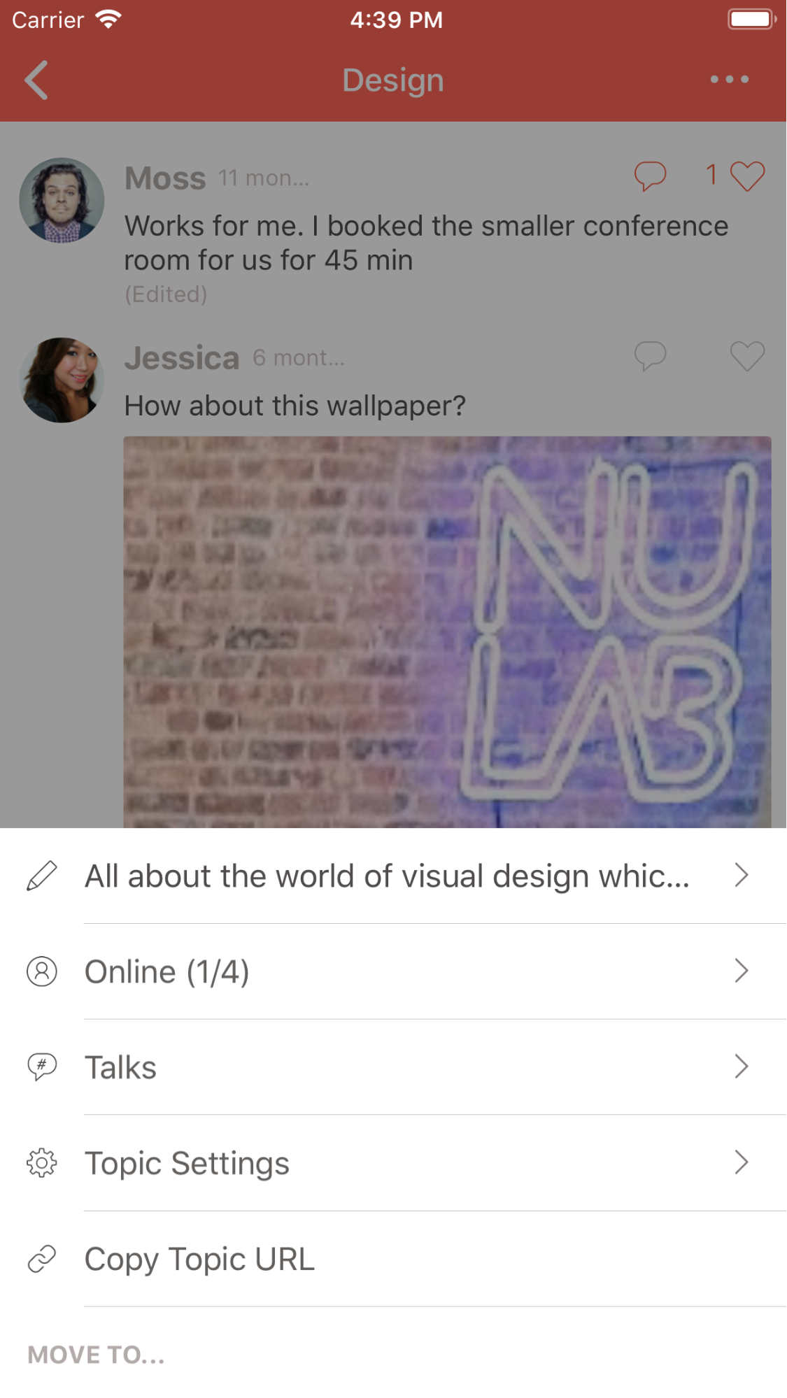 The new topic menu on Typetalk for iOS