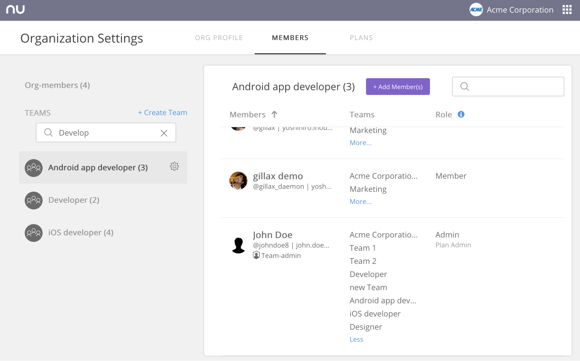 Nulab Account - Organization member view