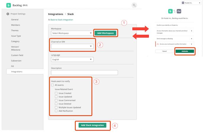 Form to add slack integration