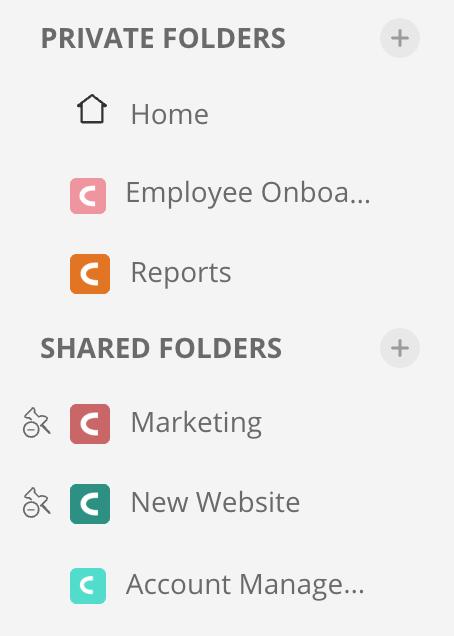 Private Folders vs Shared Folders