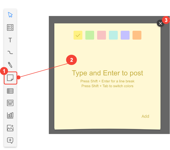 Sticky note function in Cacoo
