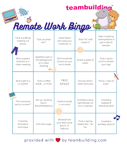 A bingo sheet of common things that happen when working remotely