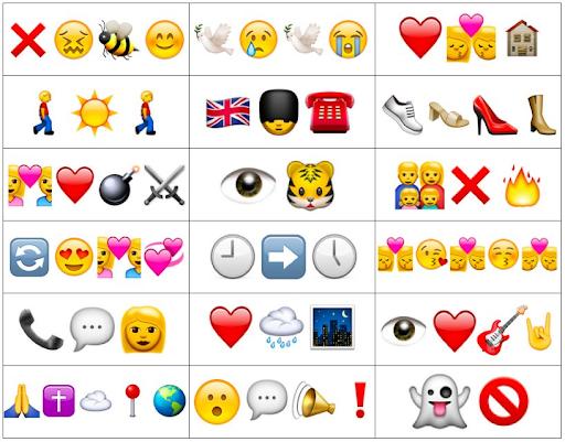 Groups of emojis that make up song titles