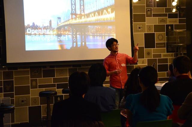 自身が主催する「Japan NYC Startups」にて。「日米の架け橋として、できるだけミートアップを長く続けていきたい」(奥西さん)